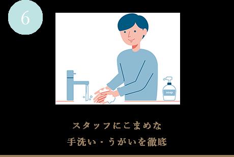 スタッフにこまめな手洗い・うがいを徹底