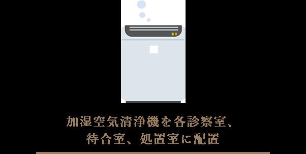 加湿空気清浄機を各診察室、待合室、処置室に配置